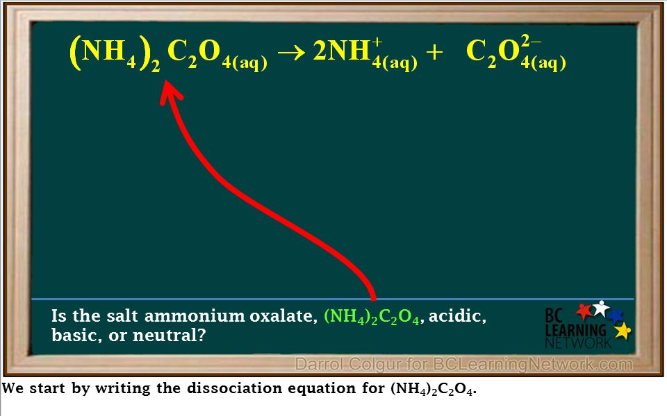 We start by writing the dissociation equation for (NH 4 ) 2 C 2 O 4. Is the salt ammonium oxalate, (NH 4 ) 2 C 2 O 4, acidic, basic, or neutral?