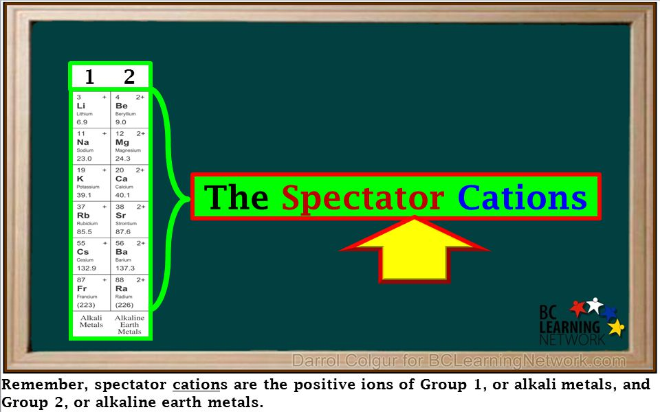 Remember, spectator cations are the positive ions of Group 1, or alkali metals, and Group 2, or alkaline earth metals. 1 2 The Spectator Cations
