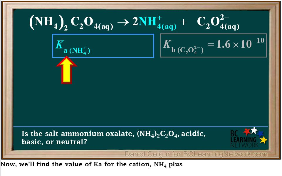 Now, we'll find the value of Ka for the cation, NH 4 plus Is the salt ammonium oxalate, (NH 4 ) 2 C 2 O 4, acidic, basic, or neutral?