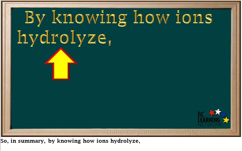 So, in summary, by knowing how ions hydrolyze,