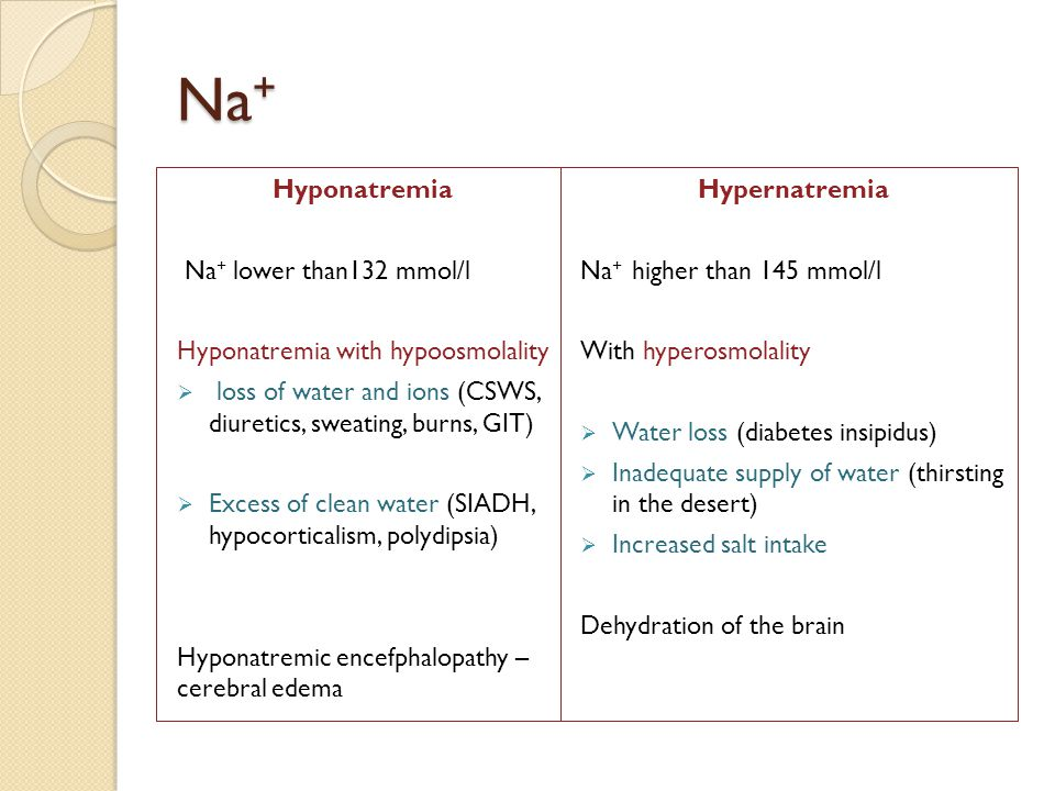 Na + Hyponatremia Na + lower than132 mmol/l Hyponatremia with hypoosmolality  loss of water and ions (CSWS, diuretics, sweating, burns, GIT)  Excess of clean water (SIADH, hypocorticalism, polydipsia) Hyponatremic encefphalopathy – cerebral edema Hypernatremia Na + higher than 145 mmol/l With hyperosmolality  Water loss (diabetes insipidus)  Inadequate supply of water (thirsting in the desert)  Increased salt intake Dehydration of the brain