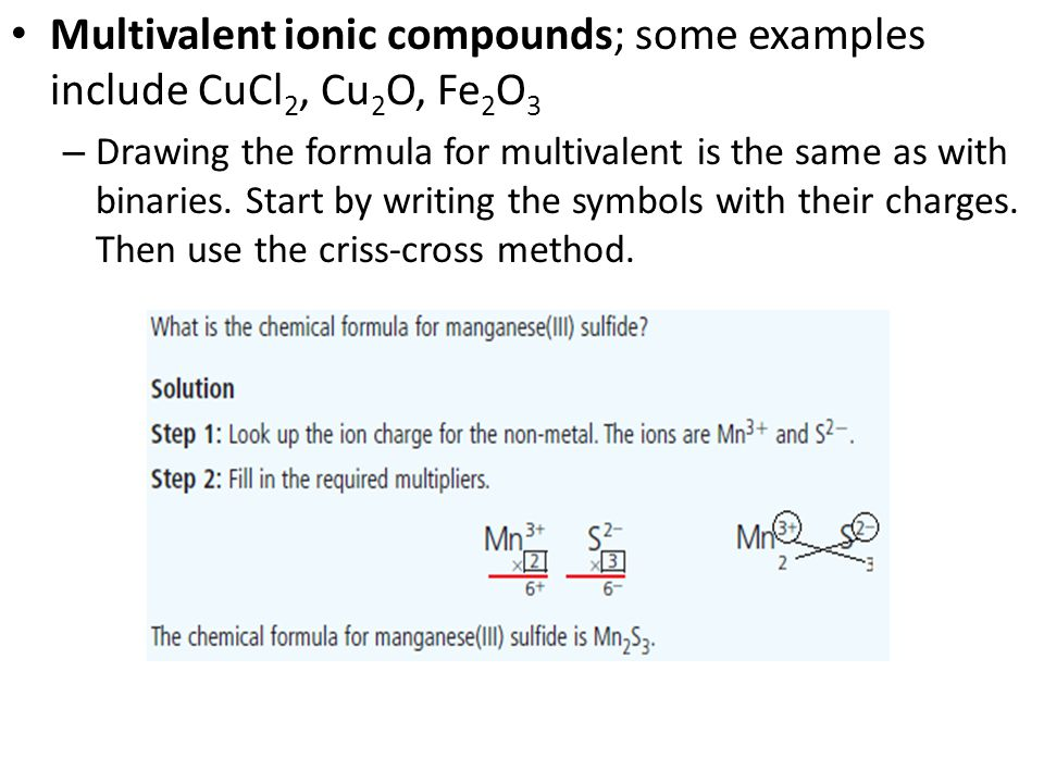 Multivalent ionic compounds; some examples include CuCl 2, Cu 2 O, Fe 2 O 3 – Drawing the formula for multivalent is the same as with binaries.