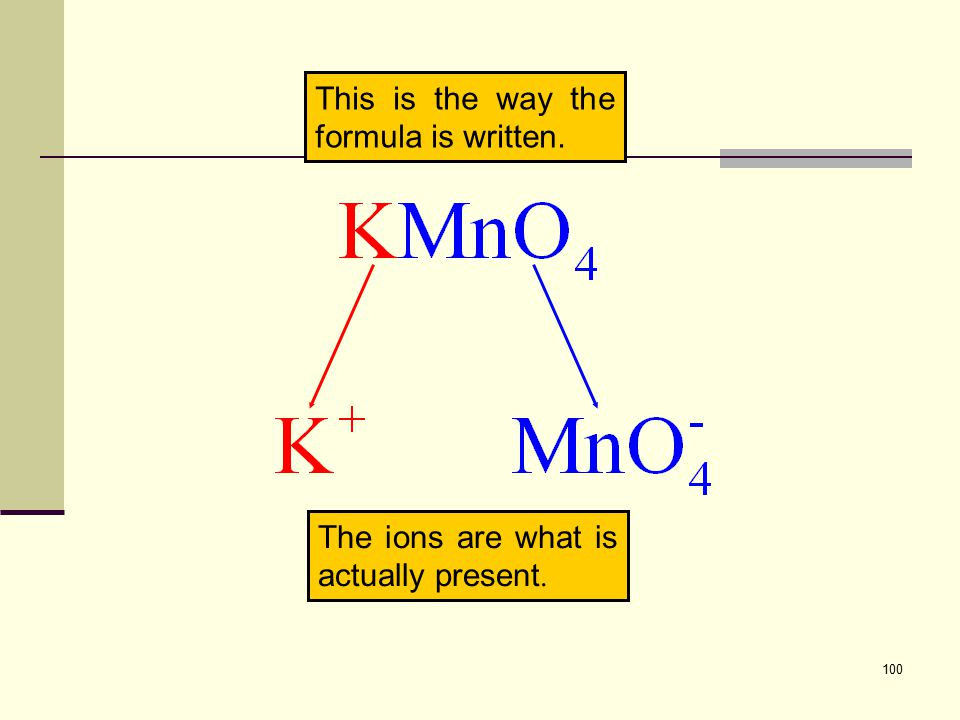 100 The ions are what is actually present. This is the way the formula is written.