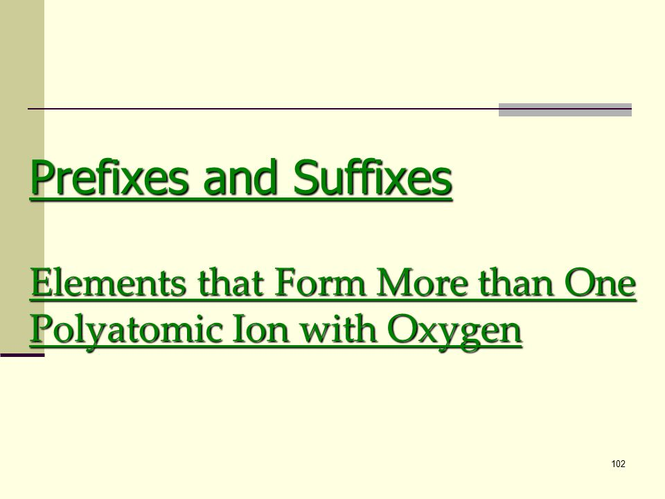 102 Prefixes and Suffixes Elements that Form More than One Polyatomic Ion with Oxygen