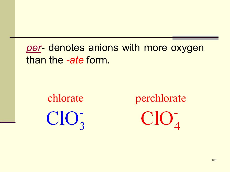 106 perper- denotes anions with more oxygen than the -ate form. perchloratechlorate