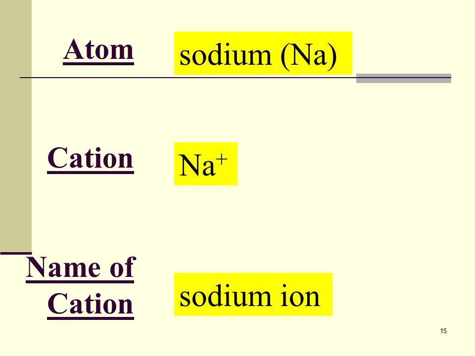 15 Atom Cation Name of Cation sodium (Na) Na + sodium ion