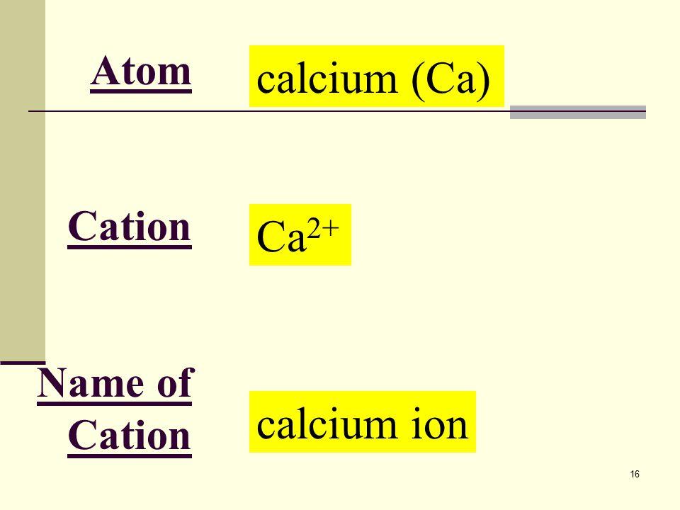 16 Atom Cation Name of Cation calcium (Ca) Ca 2+ calcium ion