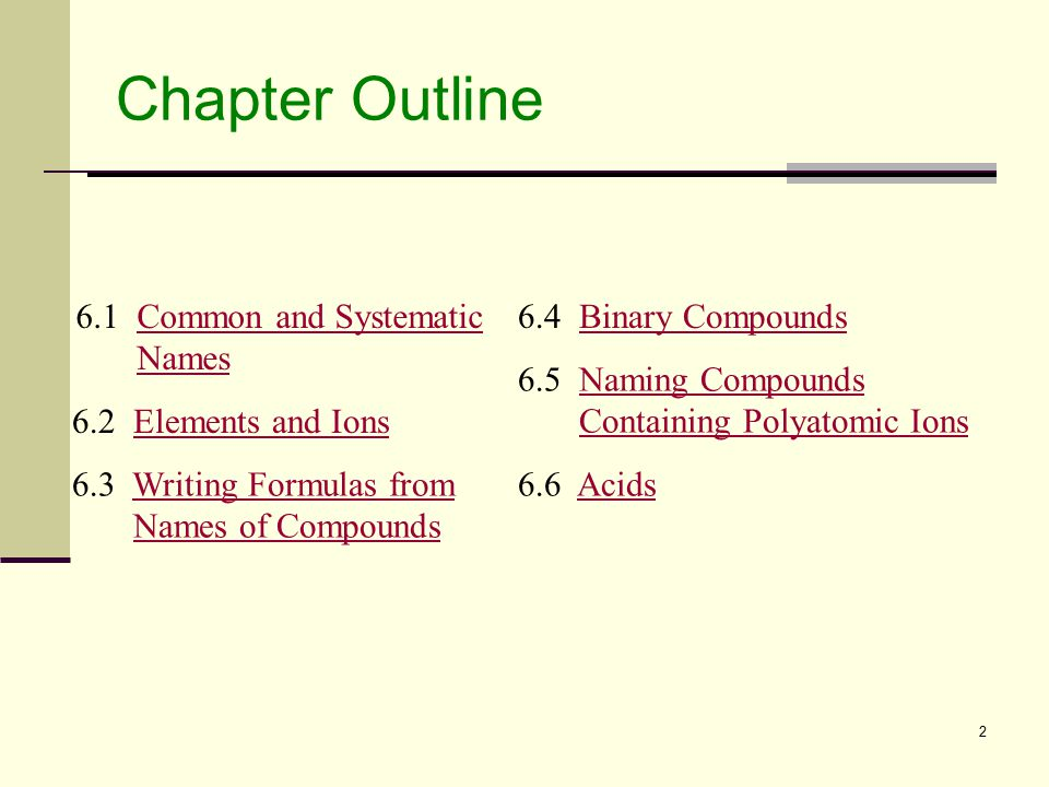 2 Chapter Outline 6.1 Common and Systematic NamesCommon and SystematicNames 6.2 Elements and IonsElements and Ions 6.3 Writing Formulas from Names of CompoundsWriting Formulas fromNames of Compounds 6.4 Binary CompoundsBinary Compounds 6.5 Naming Compounds Containing Polyatomic IonsNaming CompoundsContaining Polyatomic Ions 6.6 AcidsAcids