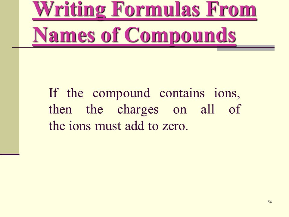 34 If the compound contains ions, then the charges on all of the ions must add to zero.
