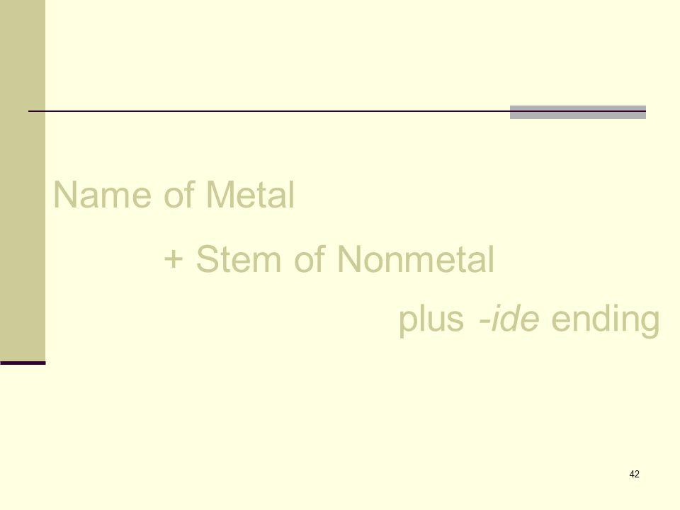 42 Name of Metal + Stem of Nonmetal plus -ide ending
