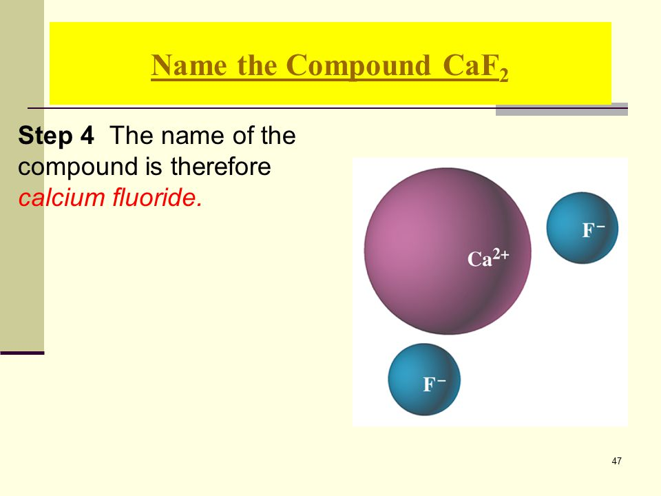 47 Step 4 The name of the compound is therefore calcium fluoride. Name the Compound CaF 2
