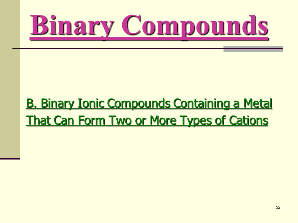 52 B. Binary Ionic Compounds Containing a Metal That Can Form Two or More Types of Cations Binary Compounds