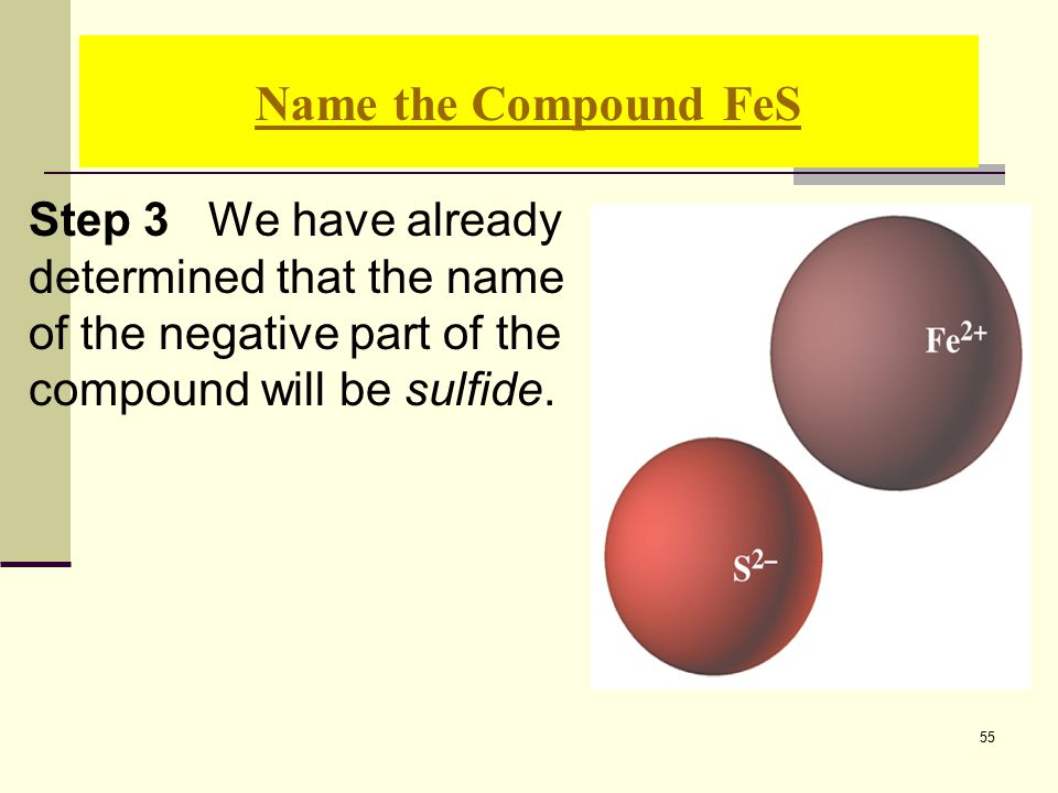 55 Step 3 We have already determined that the name of the negative part of the compound will be sulfide.