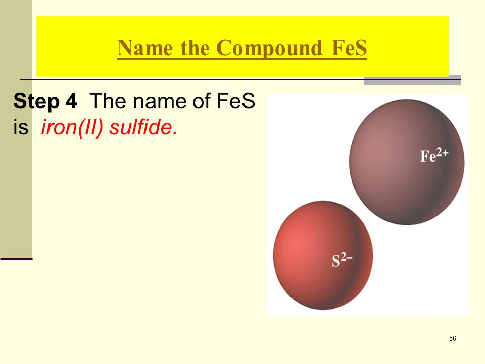 56 Step 4 The name of FeS is iron(II) sulfide. Name the Compound FeS