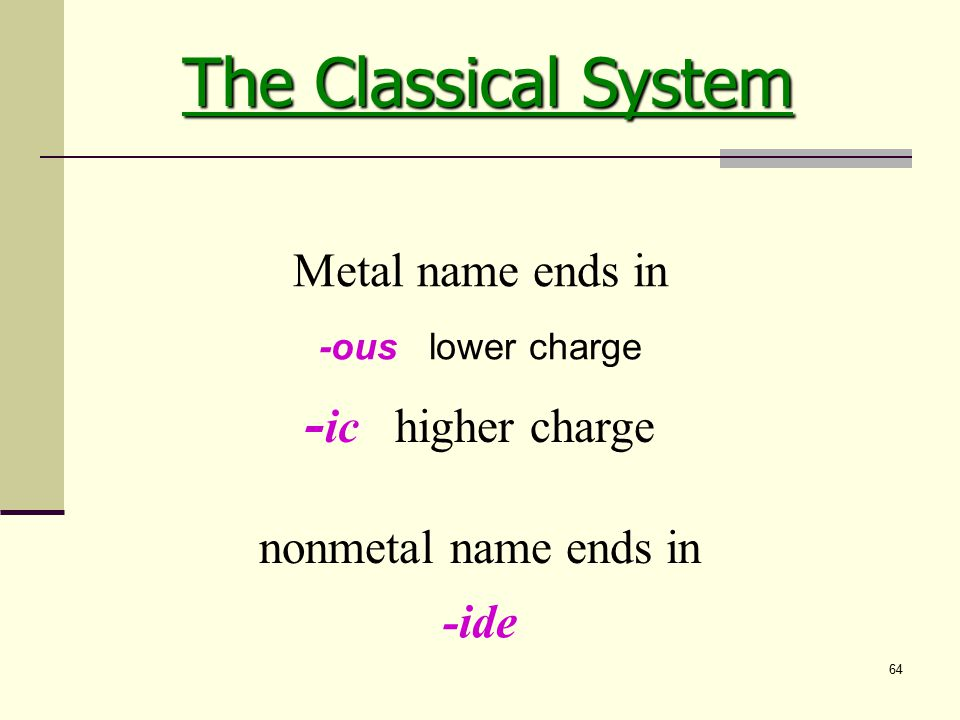 64 -ous lower charge - ic higher charge Metal name ends in nonmetal name ends in -ide The Classical System