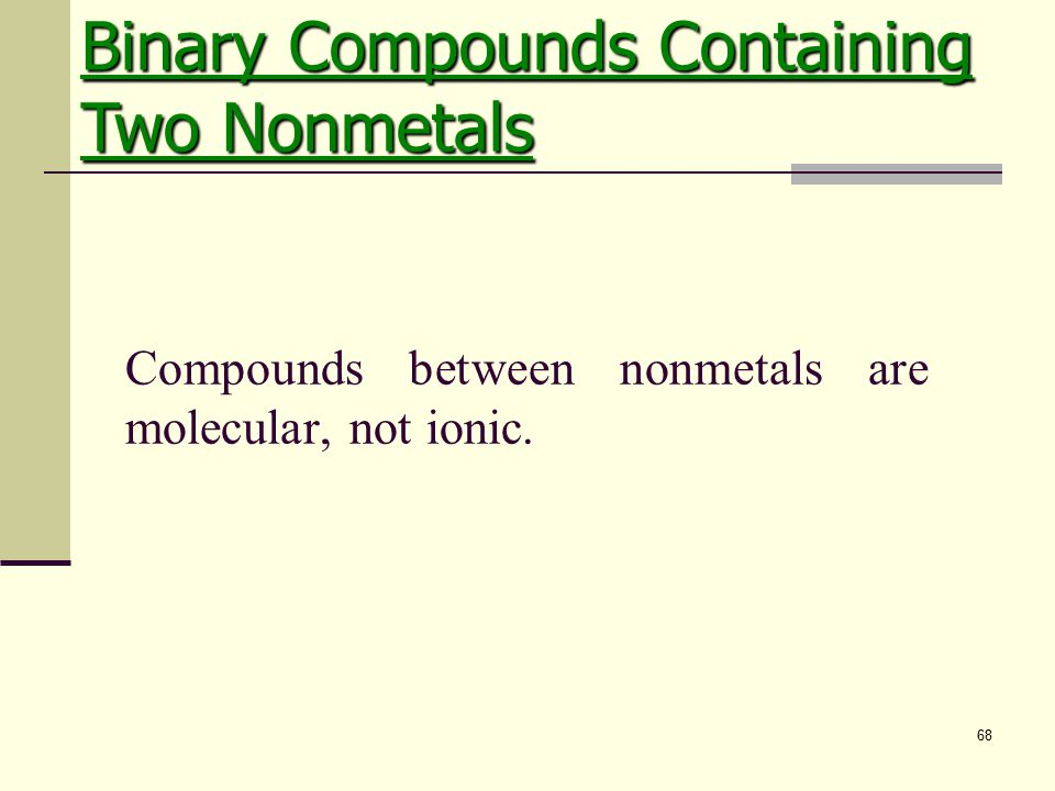 68 Compounds between nonmetals are molecular, not ionic. Binary Compounds Containing Two Nonmetals