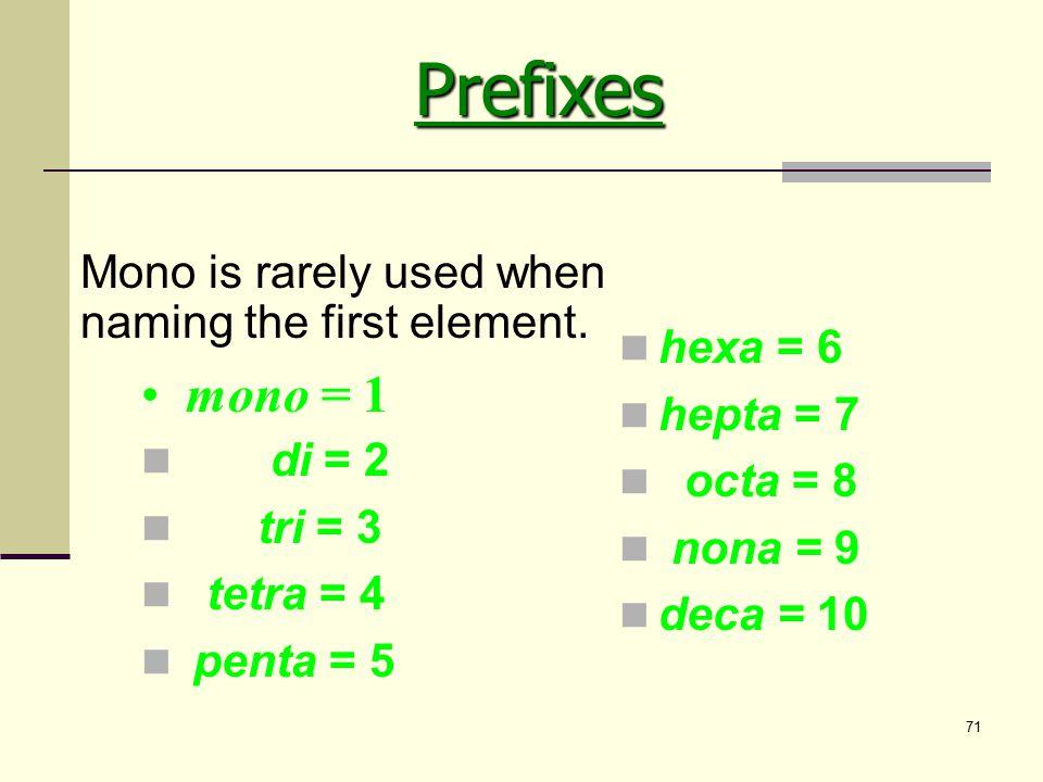 71 di = 2 tri = 3 tetra = 4 penta = 5 hexa = 6 hepta = 7 octa = 8 nona = 9 deca = 10 mono = 1 Mono is rarely used when naming the first element. Prefi