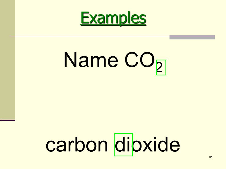 81 carbon dioxide Name CO 2Examples