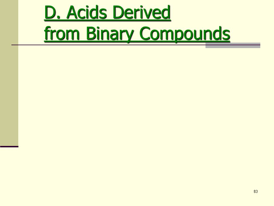 83 D. Acids Derived from Binary Compounds