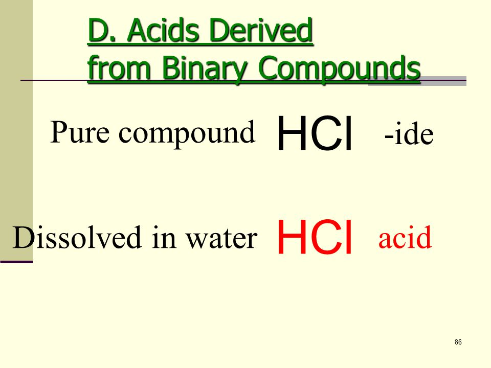 86 Dissolved in water acid HCl Pure compound HCl -ide D. Acids Derived from Binary Compounds