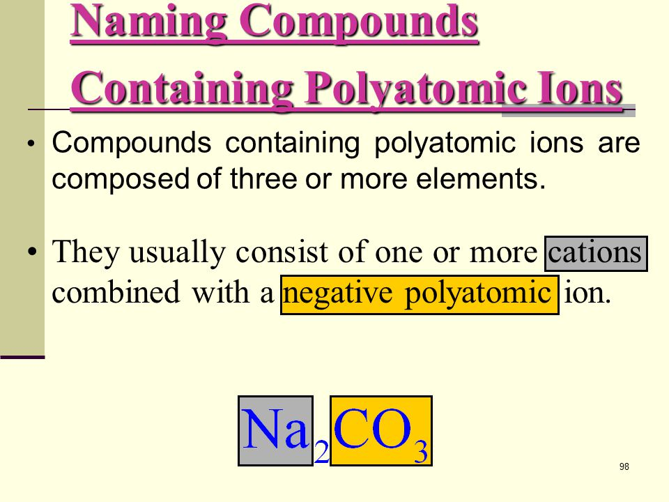 98 They usually consist of one or more cations combined with a negative polyatomic ion.