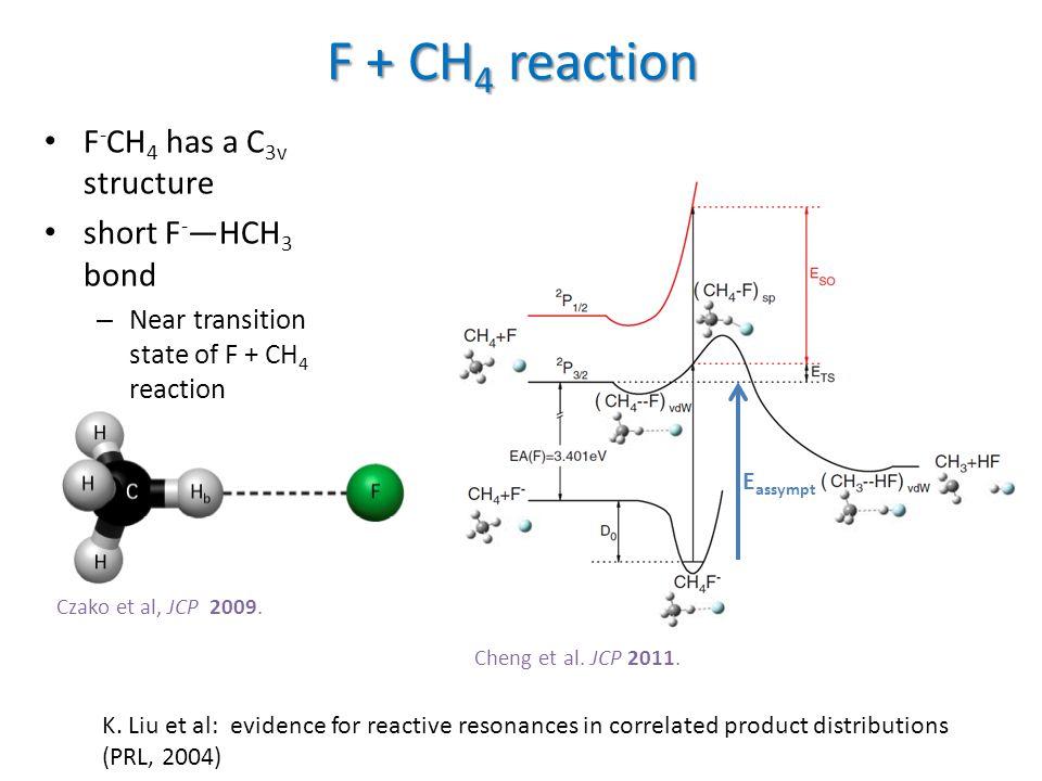 Czako et al, JCP 2009. F + CH 4 reaction F - CH 4 has a C 3v structure short F - —HCH 3 bond – Near transition state of F + CH 4 reaction Cheng et al.