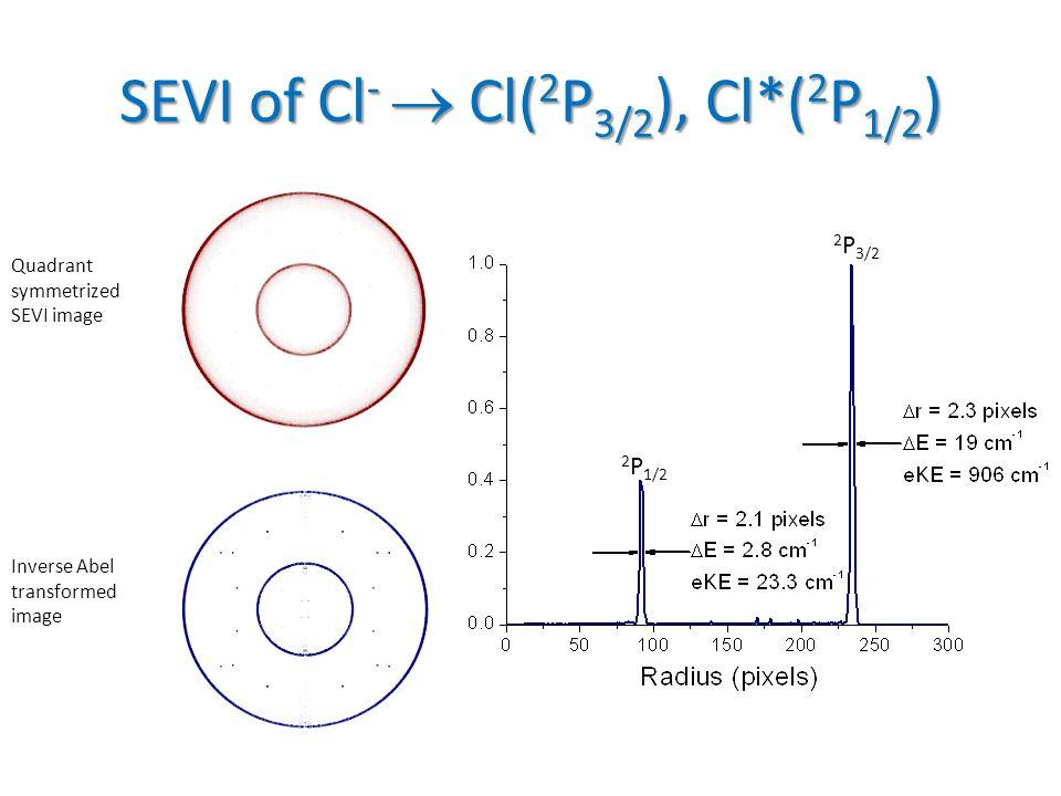 SEVI of Cl -  Cl( 2 P 3/2 ), Cl*( 2 P 1/2 ) Quadrant symmetrized SEVI image Inverse Abel transformed image 2 P 1/2 2 P 3/2 Cl Cl*