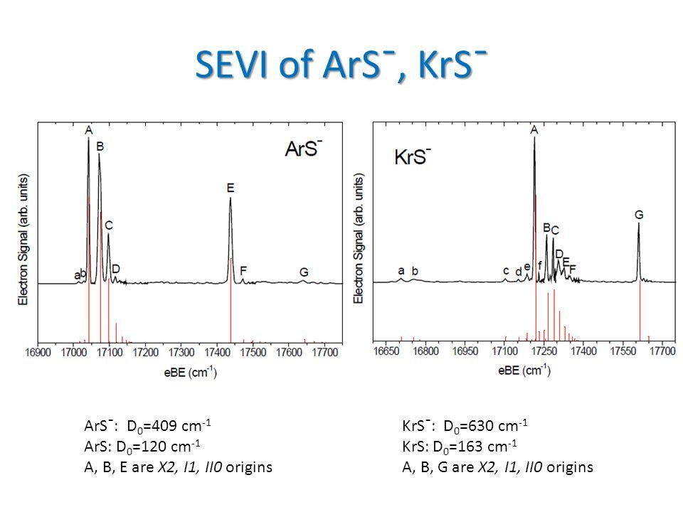 SEVI of ArSˉ, KrSˉ ArSˉ: D 0 =409 cm -1 ArS: D 0 =120 cm -1 A, B, E are X2, I1, II0 origins KrSˉ: D 0 =630 cm -1 KrS: D 0 =163 cm -1 A, B, G are X2, I