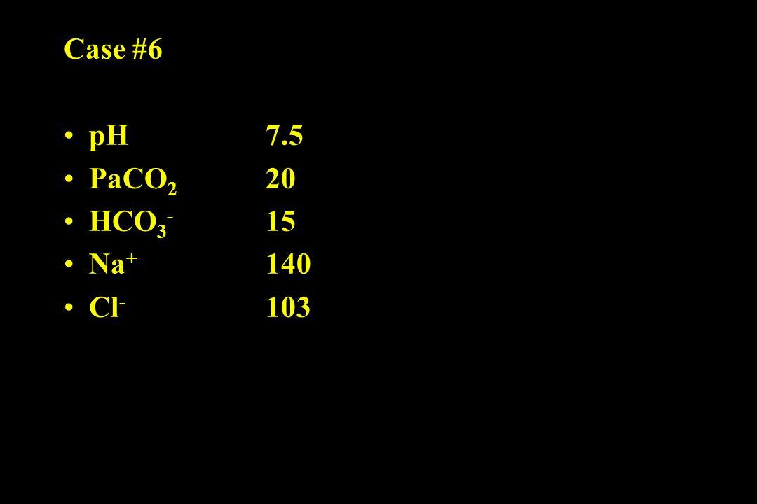 Case #6 pH 7.5 PaCO 2 20 HCO 3 - 15 Na + 140 Cl - 103