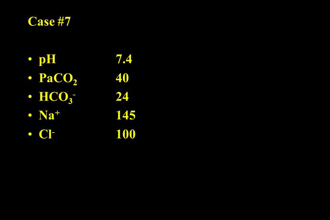 Case #7 pH 7.4 PaCO 2 40 HCO 3 - 24 Na + 145 Cl - 100
