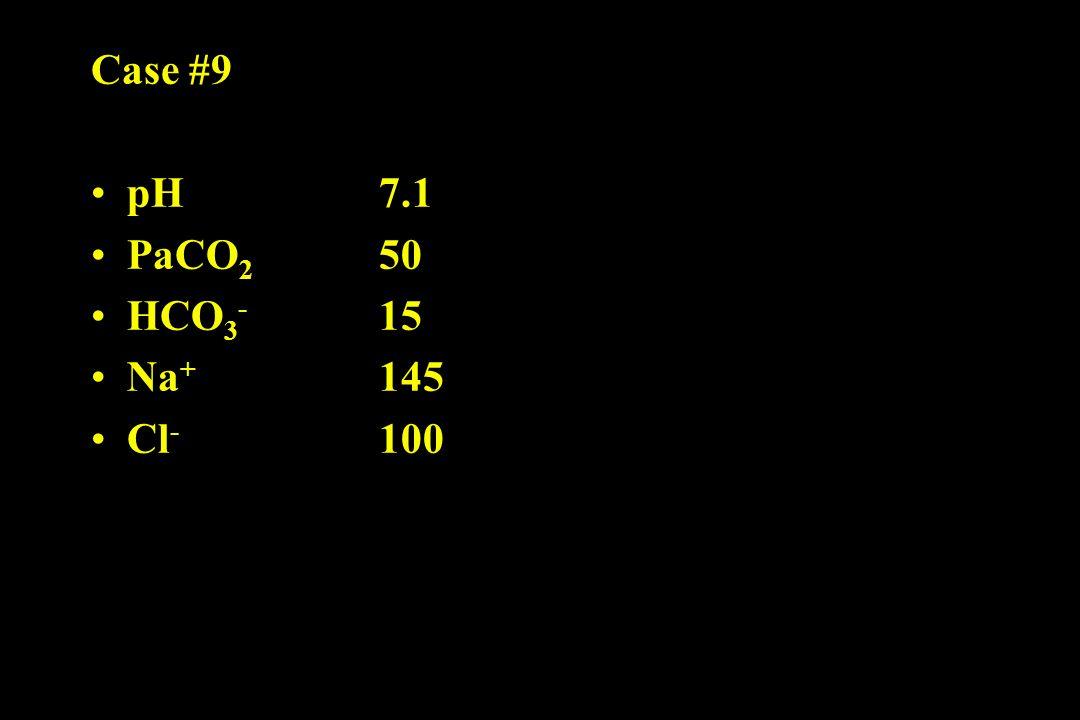 Case #9 pH 7.1 PaCO 2 50 HCO 3 - 15 Na + 145 Cl - 100