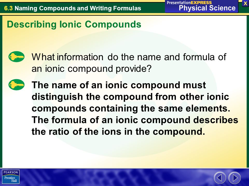 6.3 Naming Compounds and Writing Formulas What information do the name and formula of an ionic compound provide? Describing Ionic Compounds The name o