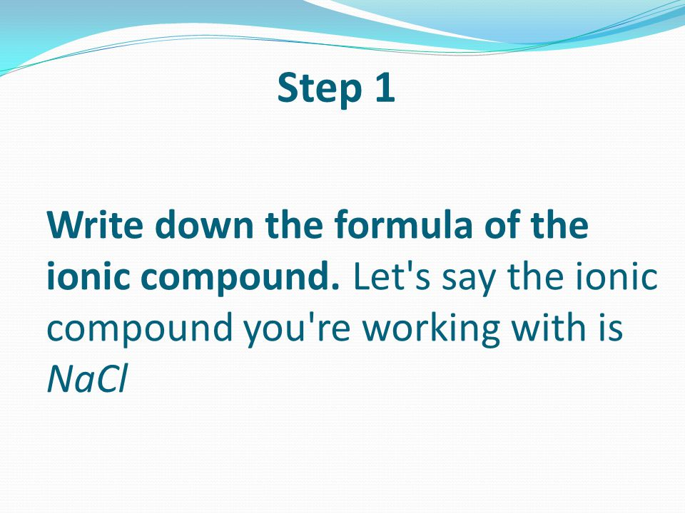 Write down the formula of the ionic compound.