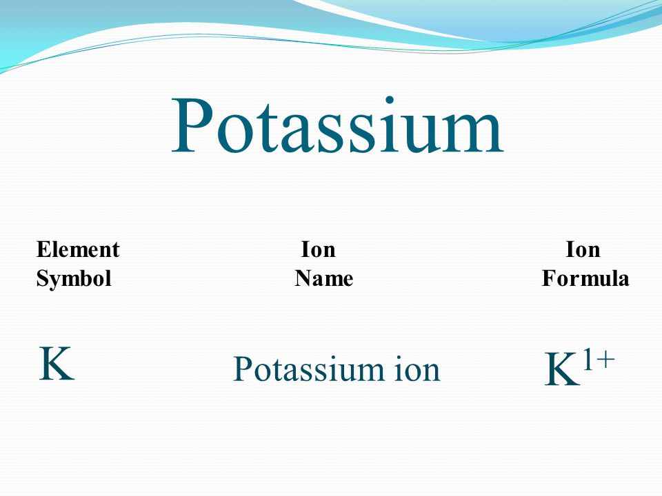 Potassium Element Ion Ion Symbol Name Formula K K 1+ Potassium ion