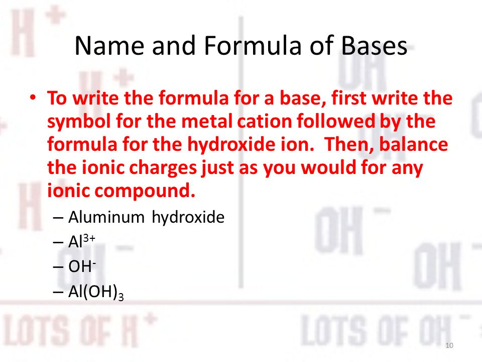 Name and Formula of Bases To write the formula for a base, first write the symbol for the metal cation followed by the formula for the hydroxide ion.