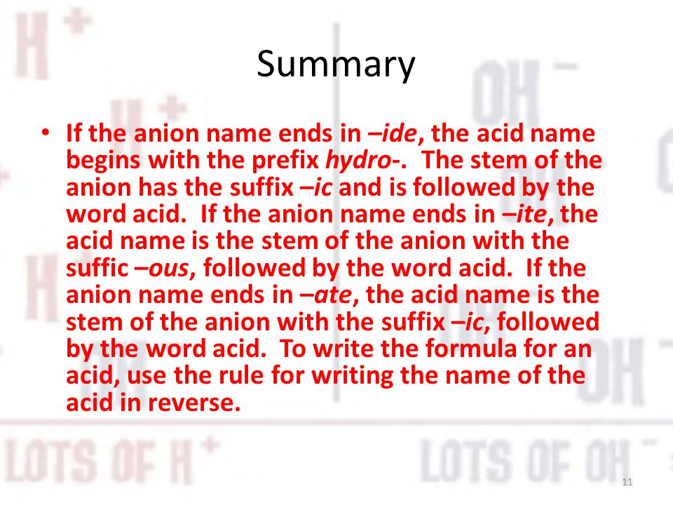 Summary If the anion name ends in –ide, the acid name begins with the prefix hydro-.