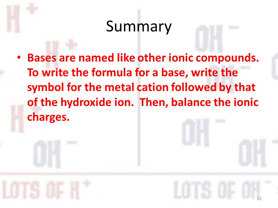 Summary Bases are named like other ionic compounds.