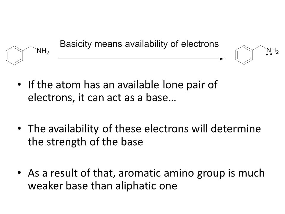 If the atom has an available lone pair of electrons, it can act as a base… The availability of these electrons will determine the strength of the base