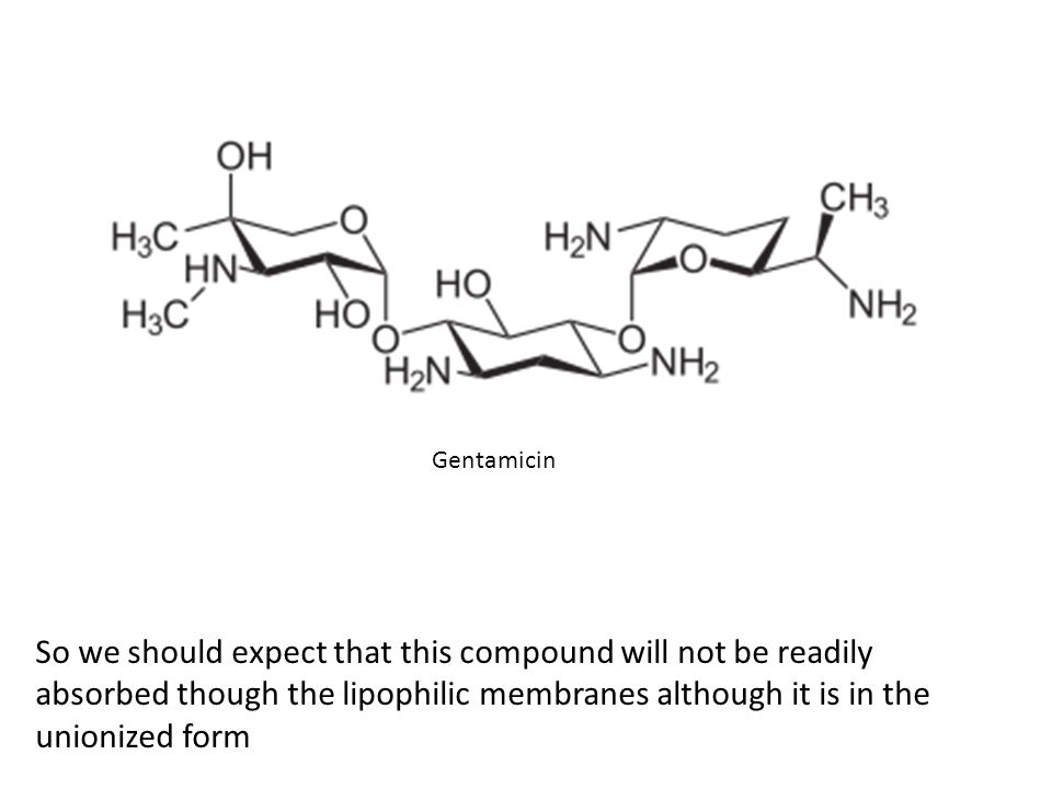 So we should expect that this compound will not be readily absorbed though the lipophilic membranes although it is in the unionized form Gentamicin