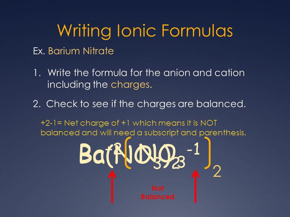 Writing Ionic Formulas Ex.