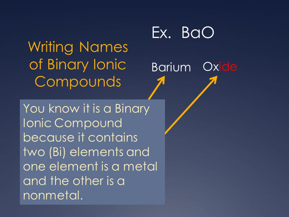 Writing Names of Binary Ionic Compounds Ex. BaO 1.