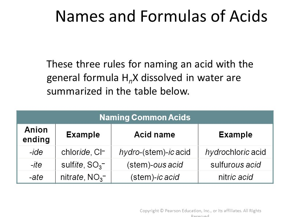 Copyright © Pearson Education, Inc., or its affiliates. All Rights Reserved. Names and Formulas of Acids These three rules for naming an acid with the