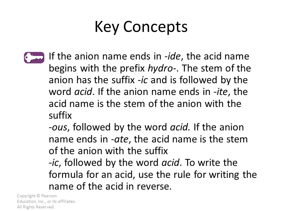 Copyright © Pearson Education, Inc., or its affiliates. All Rights Reserved. If the anion name ends in -ide, the acid name begins with the prefix hydr