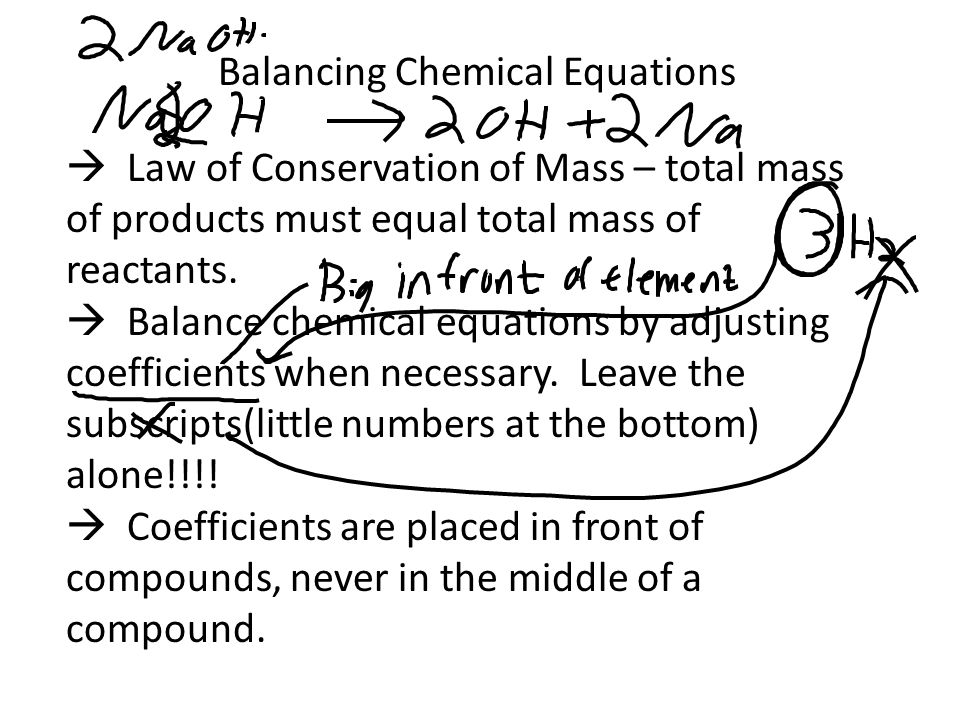  Law of Conservation of Mass – total mass of products must equal total mass of reactants.