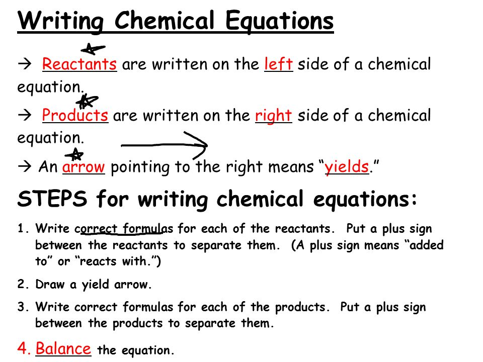 Writing Chemical Equations  Reactants are written on the left side of a chemical equation.
