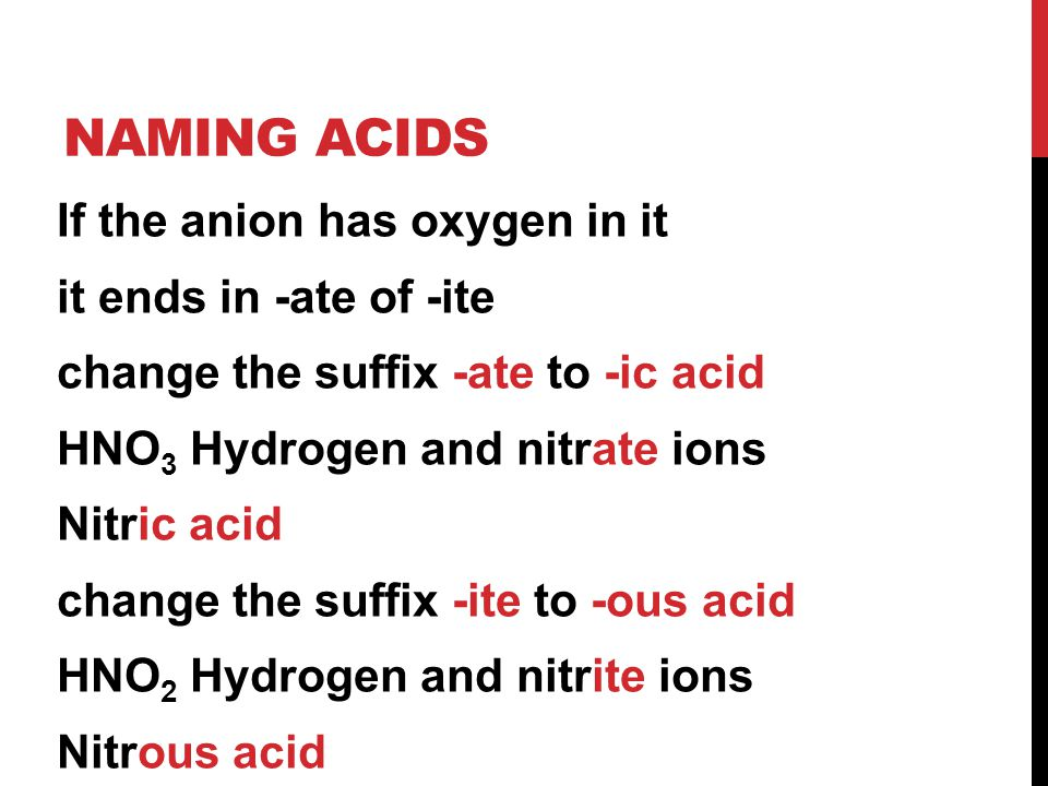NAMING ACIDS If the anion has oxygen in it it ends in -ate of -ite change the suffix -ate to -ic acid HNO 3 Hydrogen and nitrate ions Nitric acid change the suffix -ite to -ous acid HNO 2 Hydrogen and nitrite ions Nitrous acid