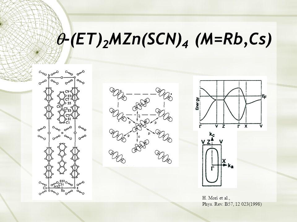  -(ET) 2 MZn(SCN) 4 (M=Rb,Cs) H. Mori et al., Phys. Rev. B57, 12 023(1998)