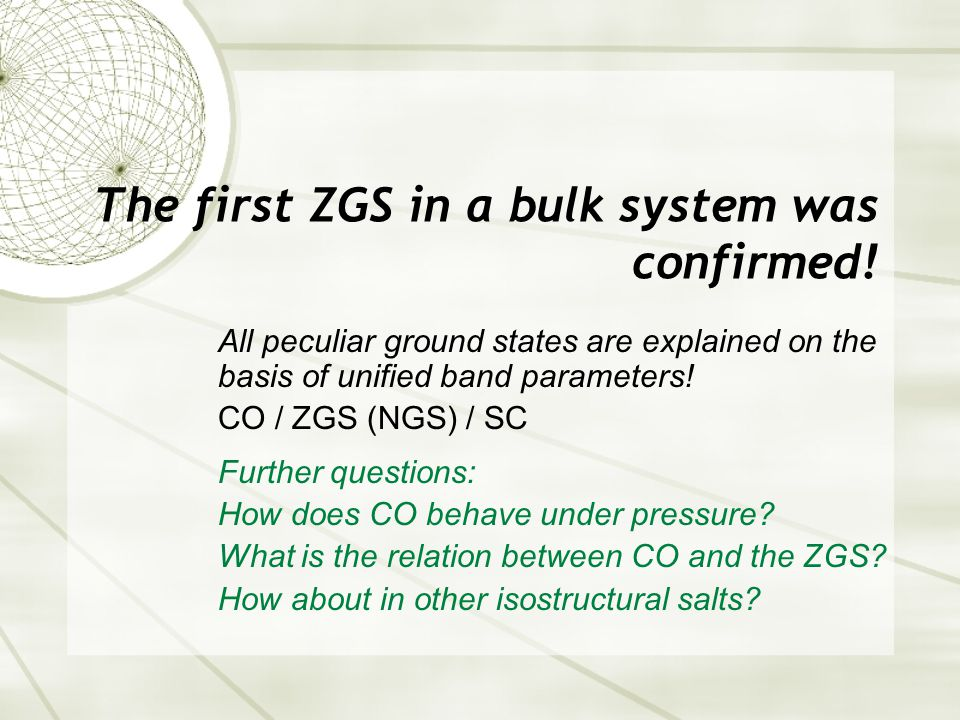 The first ZGS in a bulk system was confirmed.