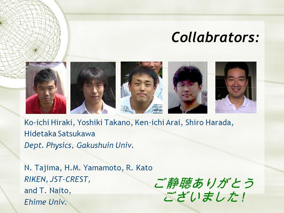 Collabrators: Ko-ichi Hiraki, Yoshiki Takano, Ken-ichi Arai, Shiro Harada, Hidetaka Satsukawa Dept. Physics, Gakushuin Univ. N. Tajima, H.M. Yamamoto,
