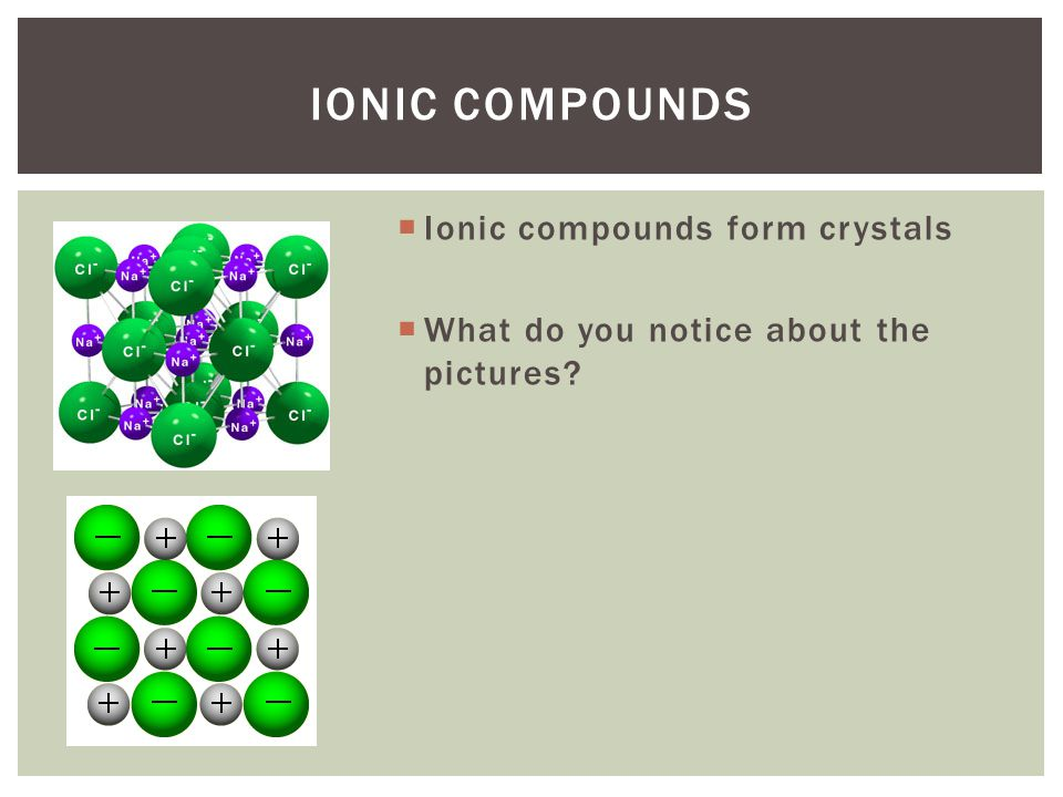  Strong attractions between ions of a compound cause it to have  High melting points  Highly brittle (breakable)  Very strong Cation anion IONIC COMPOUNDS